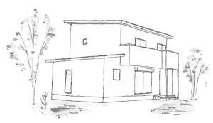 2021年2月の完成見学会の会場家屋の外観イラスト